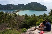 Ko Nok and Ton Sai Village from Ko Nai viewpoint, Ko Phi Phi, Thailand. Asia. Pee Pee viewpoint Phi Phi Don island. Krabi province, Andaman Sea, Thail...