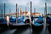 Italy, Veneto, Venice, listed as World Heritage by UNESCO, Saint Mark´s Square (Piazza San Marco), gondolas at Riva degli Schiavoni docks, the basilic...
