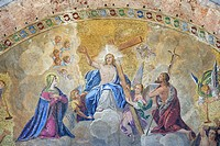 Italy, Veneto, Venice, listed as World Heritage by UNESCO, Saint Mark´s basilica (Basilica di San Marco), religious mosaic on the outside wall