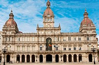 City Hall, La Coruna, Region of Galicia, Spain, Europe.