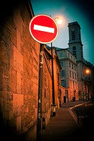 No Entry sign on a Parisian street.