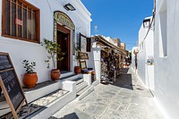 Restaurant and Shops In Lindos, Rhodes, Greece.