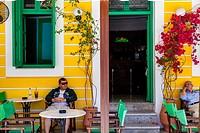 Colourful Cafe/Bar, Symi Island, Dodecanese, Greece.