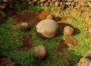 Magnetic stones in Ahu Te Pito Kura, Rapa Nui National Park, Easter Island, Chile.