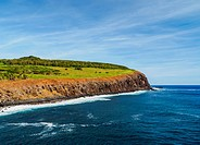 Coastline view towards the Rano Kau Volcano, Easter Island, Chile.