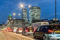 England, City of London-Heavy traffic on London Bridge.