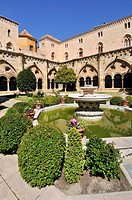 Cloister of Cathedral of Tarragona, Roman Catholic church in Tarragona, Catalonia, Spain. The edifice is located in a site previously occupied by a Ro...