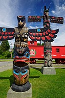 Colorful totem poles in downtown Duncan, City of Totems, Cowichan Valley, Vancouver Island, British Columbia, Canada 2017.