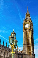 Big Ben Tower Houses of Parliament Lamp Post Westminster Bridge Westminster London England. Named after the Bell in the Tower. Has kept exact time sin...