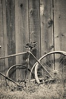 Old broken vintage bicycle and wooden wall. Rural still life.