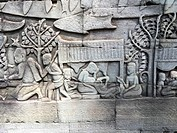 Relief in Angkor Thom, Bayon temple, Cambodia.