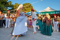 Ball pagès, typical dance from Ibiza, Portinax, Ibiza, Balearic Islands, Spain.