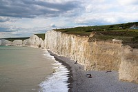 pebbles beach and cliff coast at Beachy Head, Sussex, England