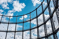 Steel frame of a gasometer (gas holder) from the former Gaswerks Mariendorf (Mariendorf Gas Works), built between 1900 und 1901, Berlin, Germany.