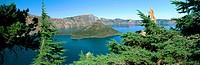 Wizard Island in Crater Lake framed by Mountain Hemlocks (Tsgua mertensiana). Crater Lake National Park. Oregon. USA