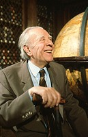 Jorge Luis Borges, Argentine writer (1899-1986). Photographed in 1983
