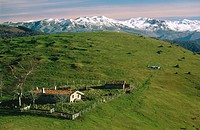 Sheepfold with Sierra de Aralar in background. Sierra de Aizkorri. Gipuzkoa. Basque Country. Spain