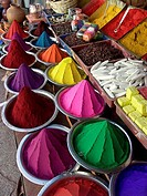 Colored powder for Hindu rituals for sale in market. Bangalore. Karnataka, India