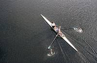 Double sculling. Willamette River. Portland. Oregon. USA.