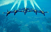 Blue Angels Navy Flight Demonstration Squadron: F/A-18 Hornet aircrafts in formation during airshow