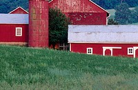 Red barns in spring. Pennsylvania, USA