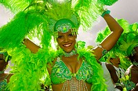 Woman in green Carnival costume, Trinidad Carnival,  Port of Spain, Island of Trinidad, Trinidad and Tobago