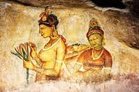 Frescoes the Sigiriya Damsels - Sigiriya Sri Lanka Fresco girls from Sigiriya