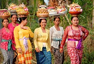 balinese women carrying offerings to a ceremony