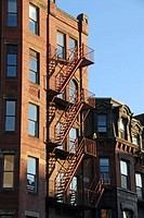 Fire escape, late afternoon sun, on a Boston´s Back Bay townhouse. USA.