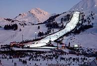 alps Nighttime ski Sestriere. Italy