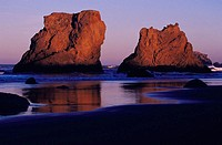 Sea stacks on the beach at Bandon in early morning light, Southern Oregon coast, USA