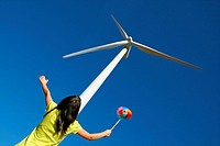 Wind turbine. Serra del Tallat. Tarragona province, Spain.