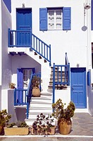 Greek architecture in the town of Hora on the Greek Island of Mykonos, Greece.
