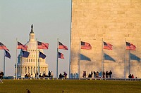 United States, Washington, District of Columbia, US Capitol Building with flags at the Washington Monument and tourists.