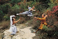 Wushu students practising kung fu, shaolin, China