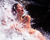 Woman, naked, nude, outdoor, outdoors, bathing, waterfall, water, brook, stream, creek, bath, wellness, recreation, na
