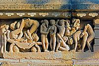 Erotic sculpture on Lakshmana Temple. Khajuraho. Madhya Pradesh, India