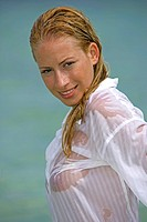 woman, young, blond, lake,clothing, blouse, wet, portrait,