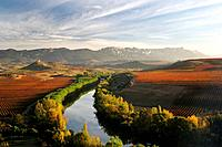 Ebro rive valley in autumn