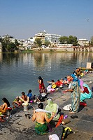 woman, women, bathing, indian, religion, color, sali, Lake Pichola/Udaipur/Rajastern/India