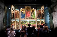 Ghent Altarpiece (Adoration of the Mystic Lamb, completed 1432) by Jan van Eyck at Saint Bavo Cathedral, Ghent. Flemish region, Belgium