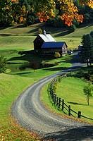 Autumn fall color farm scene near Burlington Vermont