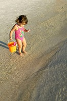 Little girl on the beach in Panama City Beach, Florida.