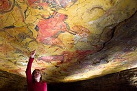 Upper Paleolithic cave paintings in the Cave of Altamira replica. Santillana del Mar, Cantabria, Spain