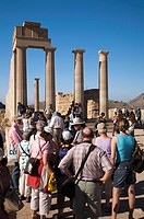 Tourists sightseeing at the Acropolis, Lindos, Rhodes, Greece