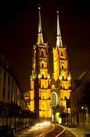 Wrocaw, Poland, Ostrow Tumski, Cathedral Island, Tumski bridge, cathedral, Katedra sw Jana Chrzciciela, Cathedral of St  John the Baptist, tower, nigh...
