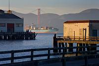 USA, California, San Francisco, piers at Fort Mason, fishermen, San Francisco Bay, container ship, Golden Gate Bridge, headlands of Marin County, late...