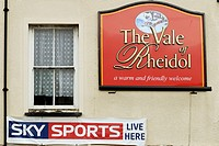 Sky Sports Live Here sign on the Vale of Rheidol pub, Aberystwyth, Wales.