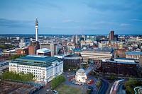 City skyline at twilight, Birmingham, West Midlands, England, UK