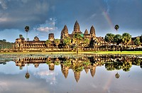 rainbow over the beautiful temple of Angkor Wat in Cambodia